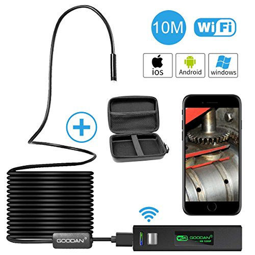 Wireless inspection camera, GOODAN Updated 1200P HD Wifi Endoscope borescope With 2.0 Megapixels 1200P HD Snake Camera For Iphone Android Smartphone, Table, Ipad, PC - (33.5FT) - Include carrying case (Camera Snake Inspection)