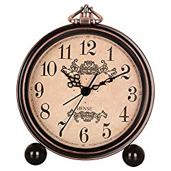 HENSE 5 Classic Retro Shelf Clock Antique Design European Style Decorative Mantel Clock Mute Silent Quiet Quartz Movement Metal Frame Desk Table Alarm Clock For Bedroom Living Room HA65 Arabic