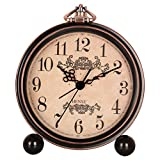 Hense 5'' Classic Retro Shelf Clock Antique Design European Style Decorative Mantel Clock Mute Silent Quiet Quartz Movement Metal Frame Desk Table Alarm Clock For Bedroom Living Room HA65 Arabic