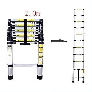 Escalera telescópica, Escalera, aluminio telescópica escalera, altura ajustable telescópica Escalera plegable, capacidad de carga de 150 kg (Color : 2.0m): Amazon.es: Bricolaje y herramientas