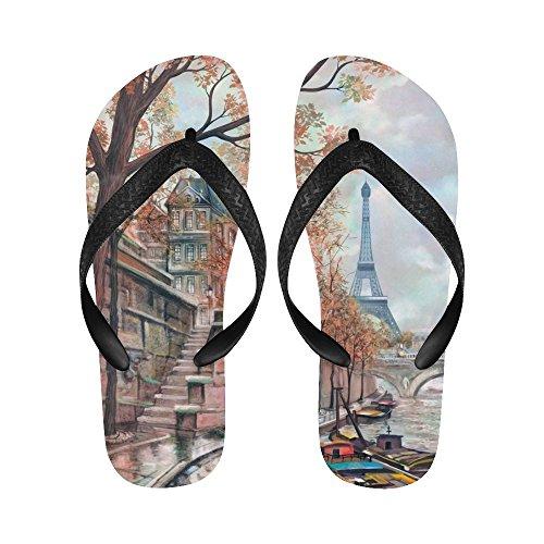 D-Story River In Paris Eiffel Tower Flip Flops Beach Sandals For Men/Women