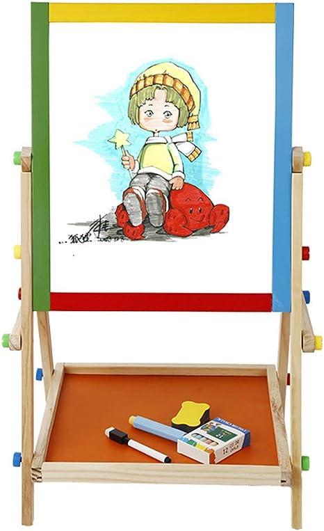 DUCKTOYS Juego de Mesa de Dibujo Infantil Dos en uno, Mesa de Dibujo de Madera Ajustable de Doble Cara magnética multifunción en Blanco y Negro de Altura Ajustable en Madera: Amazon.es: Deportes