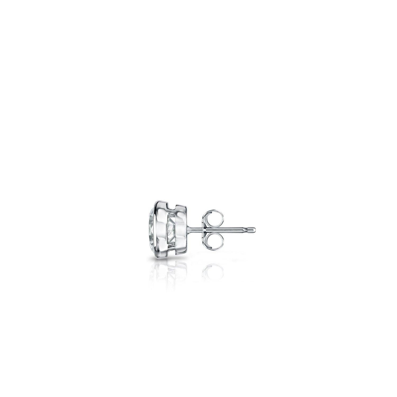 Push-Back 14k White Gold Bezel-set Round Diamond Mens SINGLE STUD Earring 1//8-1 ct, O. White, I1-I2