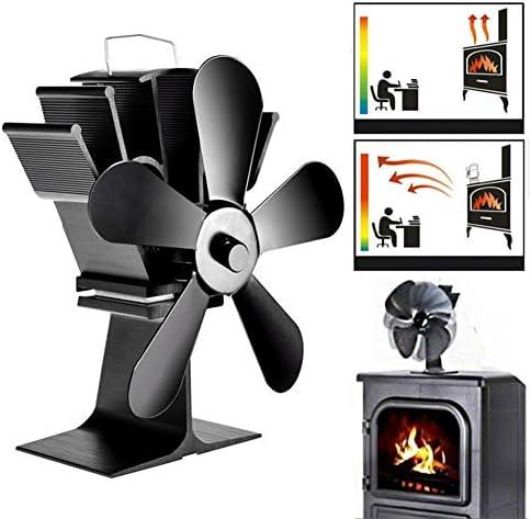 ウッドログバーナー暖炉用アルミサイレントエコフレンドリー - 5枚のブレードとの熱パワードストーブファン