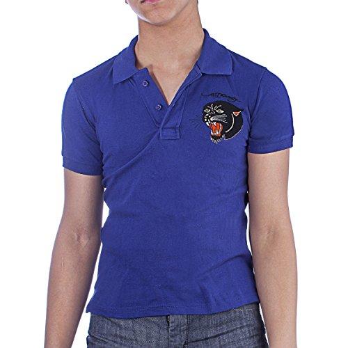 Ed Hardy Kids Panther Polo Shirt - Royal Blue - -