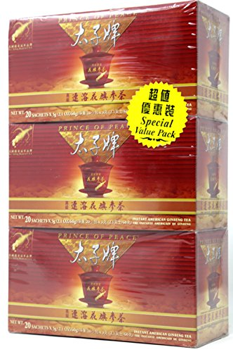 Prince Of Peace Instant American Ginseng Tea 20 Sachetsx 3g (3 Pack)