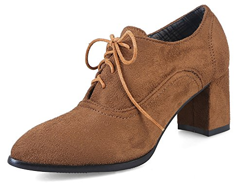 Lace Women's Shoes Classic Yellow Up Court Nubuck Toe Pointed Aisun XqTdSX