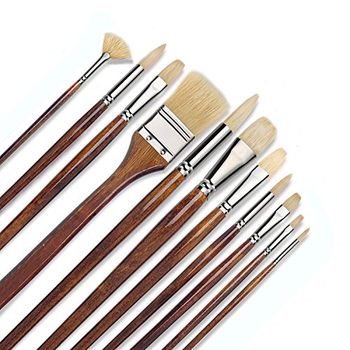 ZHOUXF 11 pcs Professional Oil & Acrylics Artist Brushes Pure Hog Bristles Long-Lasting Badger& Chungking hog - Lacquered Birchwood Long Handles with a Free Carrying Box
