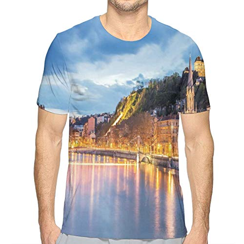 - 3D Printed T Shirts,View of Saone River in Lyon City at Evening France Blue Hour Historic Buildings