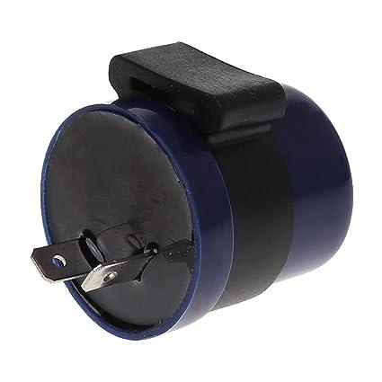 SEAyaho DC 6V 12V Input Motorcycle Blue Inbuilt Beeper Flasher Turn Signal LED Blinker 2 Pins Motor Buzzer Flasher Relay Indicator