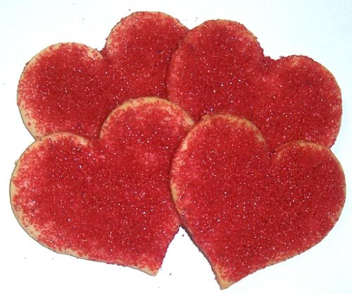 Scott's Cakes Heart Shaped Sugar Cookies with Ruby Red Sugar in a 1 Pound Plastic Deli Container