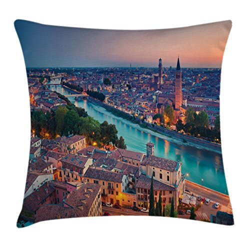 Ambesonne European Throw Pillow Cushion Cover, Verona Italy During Summer Sunset Blue Hour Adige River Medieval Historcal, Decorative Square Accent Pillow Case, 28 X 28 Inches, Aqua Coral (Verona Club Chair)
