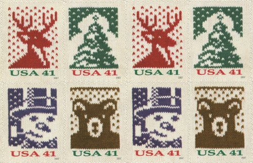 (CHRISTMAS HOLIDAY KNITTING ~ KNITS ~ NEEDLEPOINT #4210b Block of 8 x 41¢ US Postage Stamps)