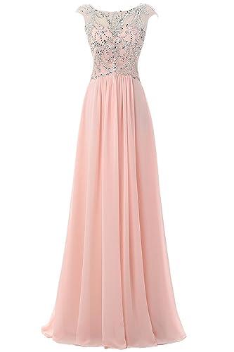 Ellames Floor Length Bridesmaid Dress Cap Sleeves Long Prom Evening Gown