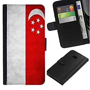 iKiki Tech / Cartera Funda Carcasa - Singapore Grunge Flag - HTC One M8
