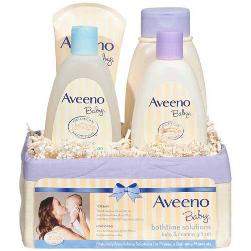 Aveeno Baby Bathtime Solutions Baby and Mommy Gift Set 4 ct Basket -- 2 per case.
