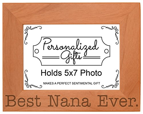 ThisWear Birthday Gift Grandma Best Nana Ever Natural Wood Engraved 5x7 Landscape Picture Frame Wood