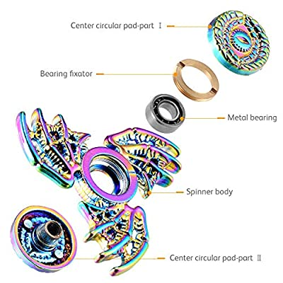 MAYBO SPORTS Wiitin Cool Dragon Wings Eyes Fidget Spinner Toy Made by Metal, Low Noise High Speed Focus Toy with Steel Self-Lubricating Bearing,Phoenix,Rainbow Color: Toys & Games