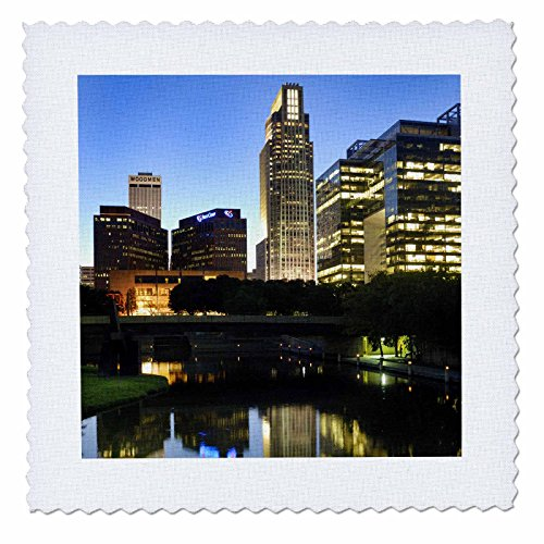3dRose qs_91536_1 City skyline of downtown Omaha, Nebraska - US26 GHA0050 - Gayle Harper - Quilt Square, 10 by - Omaha Malls