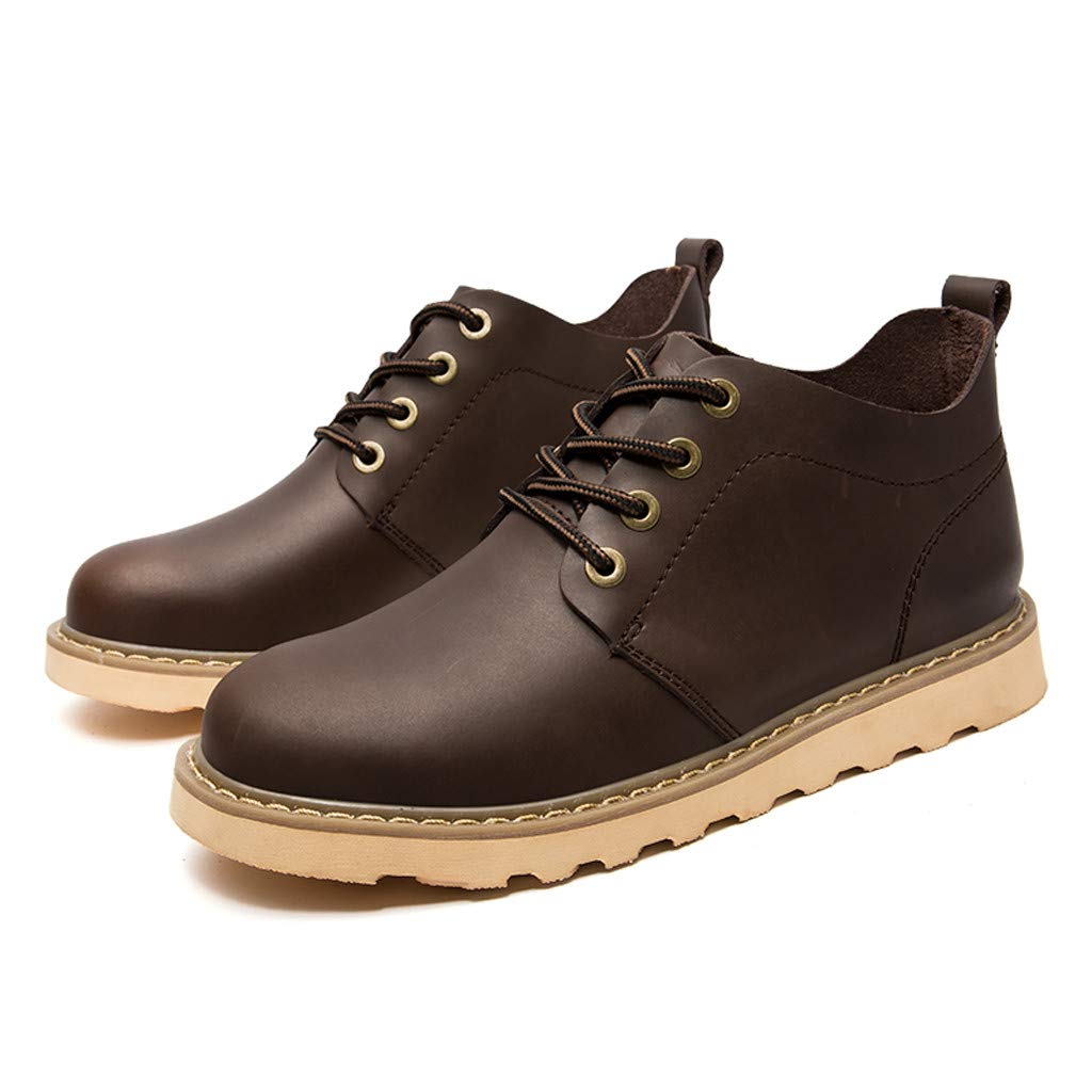 Respctful✿ Men's Casual Lace-up Cap Toe Boots Genuine Leather Oxfords Dress Ankle Boots with Zipper Brown