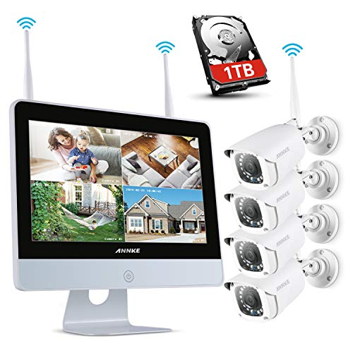 ANNKE 1080P Wireless System, 4CH FHD Wi-Fi NVR Video Surveillance System with 12''LCD Monitor, Automatic Screen Saver, 4X 1080P Outdoor IP Camera with IR Night Vision, 1TB HDD - Recording Digital Combo Video