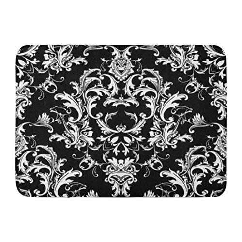 Emvency Doormats Bath Rugs Outdoor/Indoor Door Mat Beautful Baroque Damask Black White Floral Elegance Flowers Scroll Swirl Leaves Antique Ornaments Bathroom Decor Rug Bath Mat 16