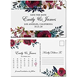 Floral Watercolor Theme, Save the Date Postcards for Weddings by LoveAtEverySight | Invitation & Invite Card | Wedding Announcement, Marriage Calendar - Personalized Customizable Cardstock- Set of 40