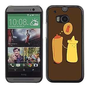 CaseCaptain Carcasa Funda Case - HTC One M8 / Hotdog & Mustard Illustration /