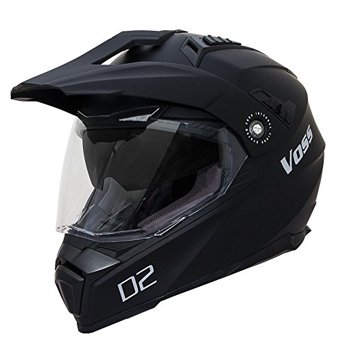 Voss 601 D2 Dual Sport Helmet with Integrated Sun Lens and Ratchet Quick Release System - Large - Matte Black by Voss Helmets (Image #1)