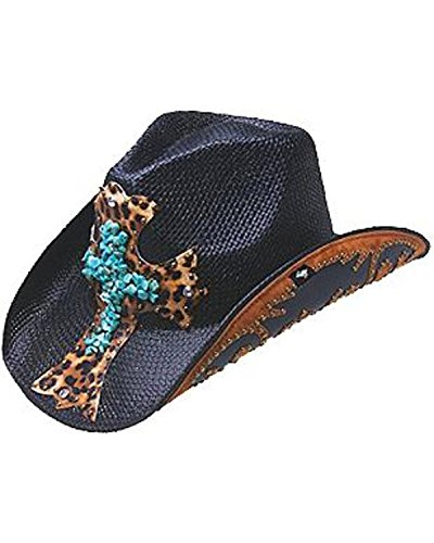Peter Grimm Ltd Women's Zeke Leopard Print Cross Straw Cowgirl Hat Black One Size