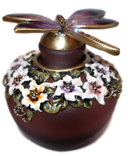 Welforth Dragonfly and Flowers Purple Glass Enamel Pewter Perfume (Dragon Perfume Bottle)