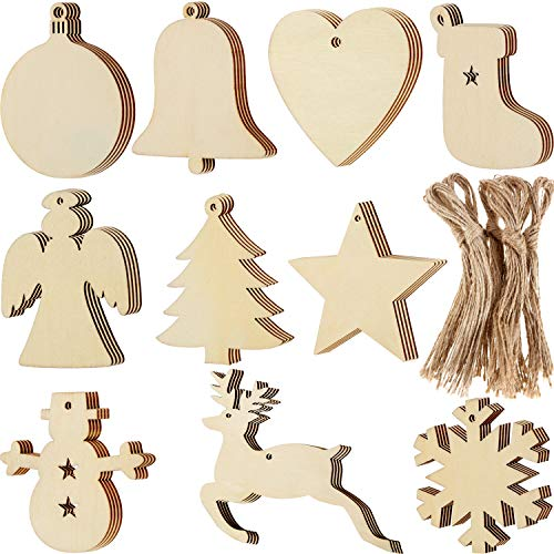 Blulu 100 Pieces Christmas Wooden Ornaments Round Wood Slices Wood Snowflake Angel Star Shape Christmas Tree Hanging Embellishments with 100 Pieces Cords (Style 1) (Christmas Yourself Make Crafts It)