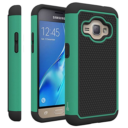 Samsung Galaxy Express 3 Case, CoverON [HexaGuard Series] Slim Hybrid Hard Phone Cover Case for Samsung Galaxy Express 3 - Teal/Black