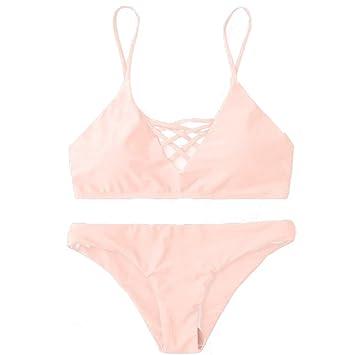 c00e3da99cf1f Amazon.com  Women Solid Color Bikini