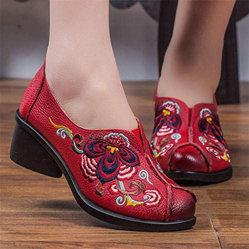 36 Soft color Zapatos Rojo Zhrui Tamaño Mary Eu Jane Vintage Bordado Leatther Negro Mujeres FS7wSZq
