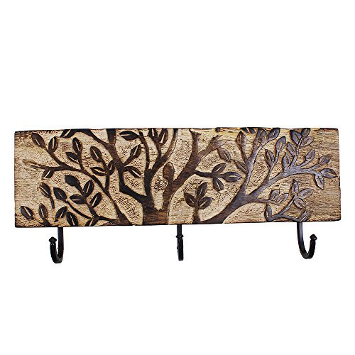 Wall Mounted Key Rack Holder Hand Carved with 3 Hooks & Tree of Life Patterns Mango Wood