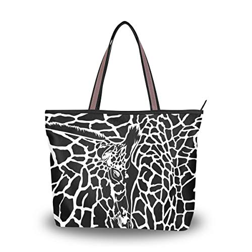 Women's Tote Shoulder Bag Camo Black White Giraffe Hobo Top Handle Bags Shopper Carolie Handbag ()
