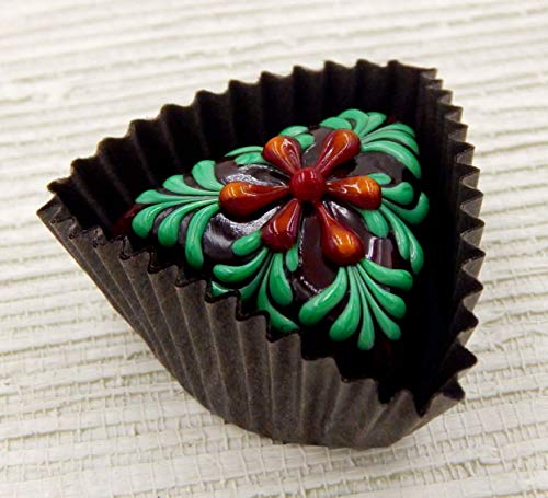 (Cherry/Mango Flower Triangle Art Glass Chocolate)