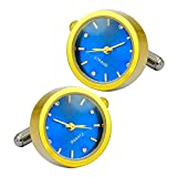 Luxury Men's cool designer cufflinks unique watch movement elegant gold & blue bullet cufflinks