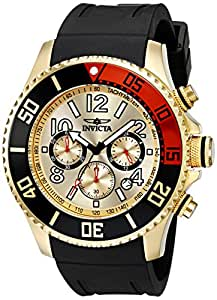 Invicta Men's 15146 Pro Diver 18k Gold Ion-Plated Stainless Steel Watch with Black Silicone Band