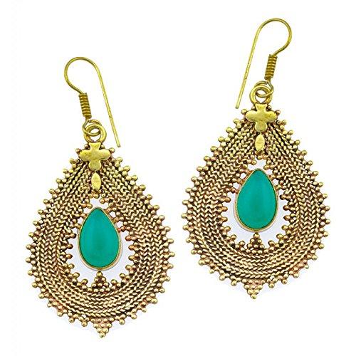 Chic-Net Pendientes de ónix verde gotas de encaje trenza cruzar latón antiguo níquel oro