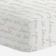 Carousel Designs French Gray Love Words Crib Sheet - Organic 100% Cotton Fitted Crib Sheet - Made in The USA