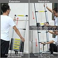 Finether 5m Escalera Telescópica de Aluminio, Escalera Extensible, Escalera Multipropósito Portátil con Guantes de Trabajo y Bolsa de Escalera, 14 Peldaños, Certificada por EN131, Capacidad de 150 kg: Amazon.es: Bricolaje y herramientas