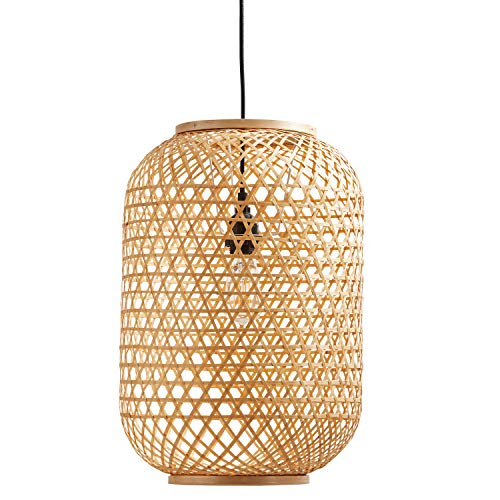 Stone & Beam Modern Barrel Woven Ceiling Pendant Chandelier Fixture with Light Bulb - 10 x 10 x 16.25 Inches, 43.5 Inch Cord, Natural Rattan Shade
