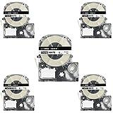 LK-3WBN Label Tape, LaBold 5 Pack Compatible Epson LabelWorks Label Maker Tape Refill Cartridge Cassette LC-3WBN9 SS9KW LK-3WBN Black on White 3/8'' X 26.2'(9mm x 8M)