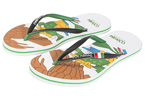 Samba Sol Mens Flag Collection Flip Flops - Fashionable and Comfortable. Trendy and Classic Sandals For Mens. Mexico PkpEiU