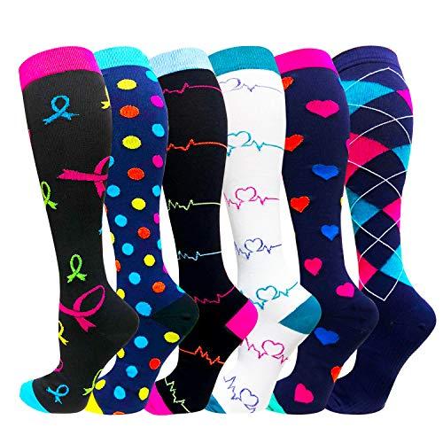 Compression Socks For Women Men 20-30mmHg-Best Medical, Nursing, Travel & Flight Socks - Running & Fitness Compression Stockings (L/XL, Assorted)