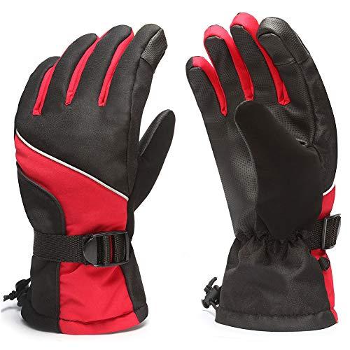 824634302 Zaboumi Ski Gloves Men Winter Warm Windproof Waterproof Outdoor Snow  Snowboard Women and Kids (Red)