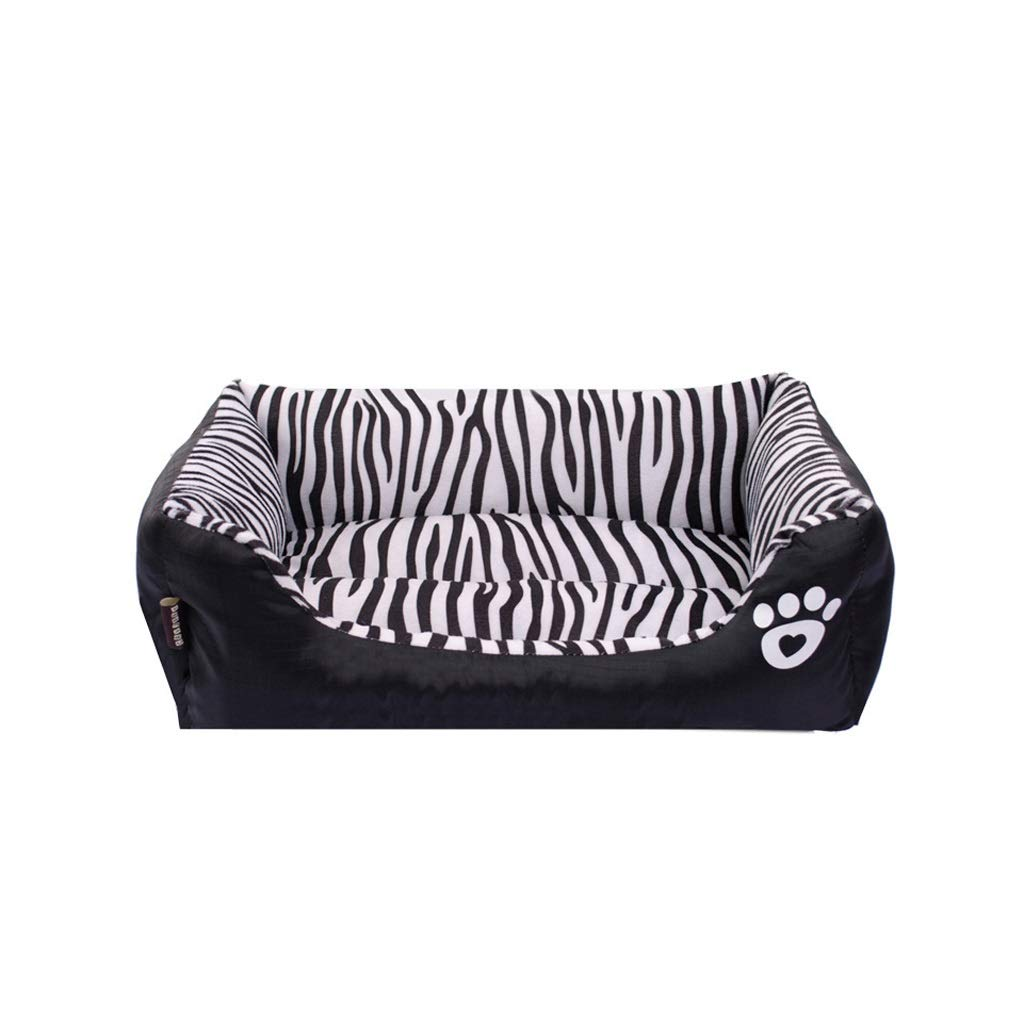 L YT- Pet Rectangle Bed, Zebra Striped Warm Cozy Dog with Non Slip Washable, for Cat and Dog Orthopedic Bed Cushion (Size   L)