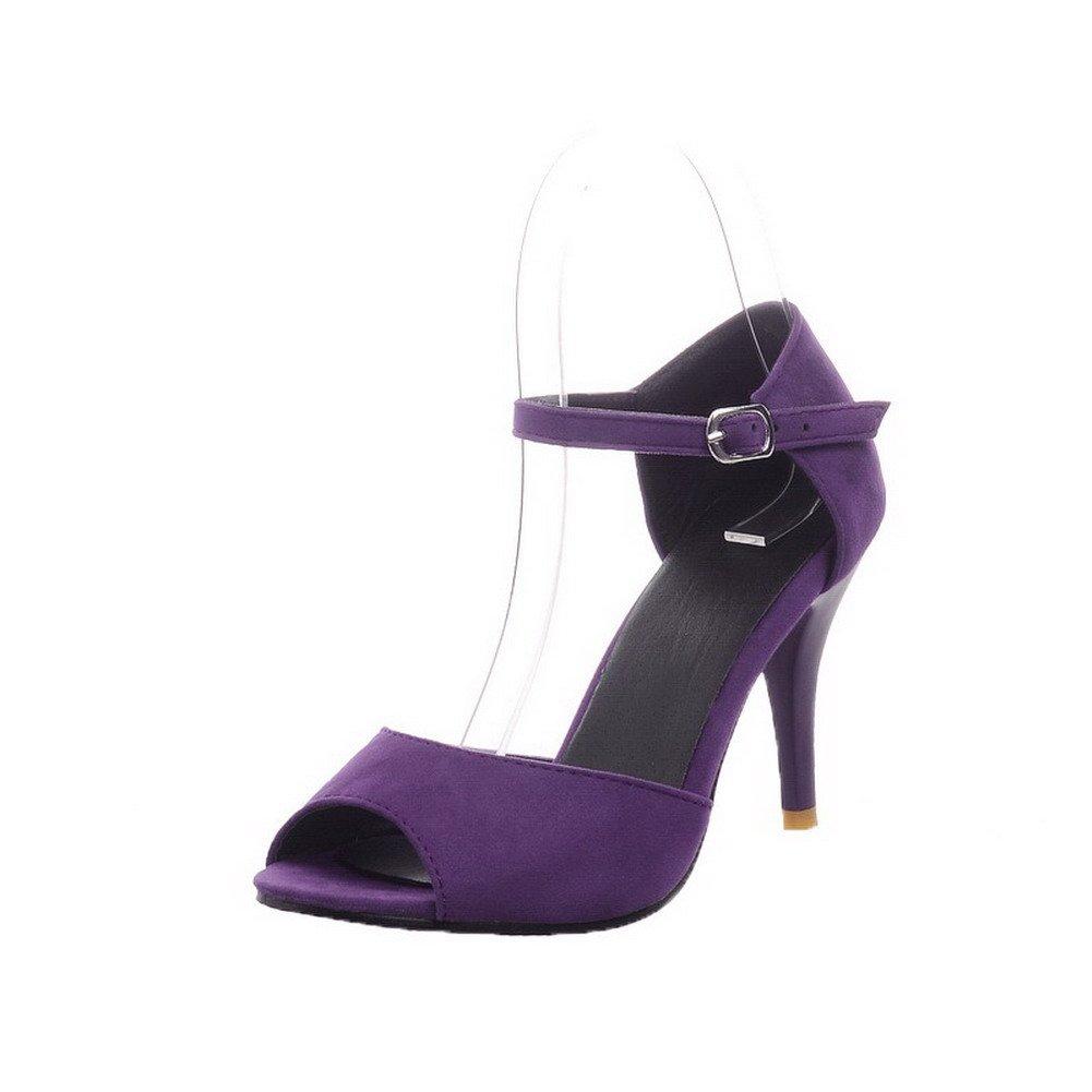 AalarDom Women's High-Heels Frosted Solid Buckle Peep-Toe Sandals, Purple, 36 by AalarDom